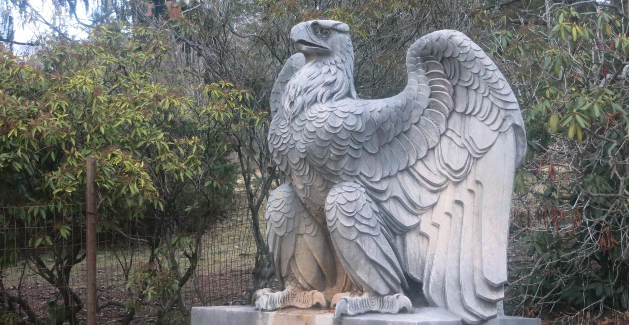 Stone eagles that previously adorned Penn Station in New York now sit at Ringwood State Park. Photo by Daniel Chazin.
